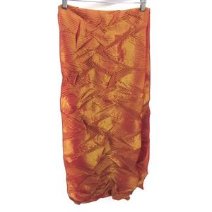 HAN FENG New York Orange Pink Crinkle Scarf